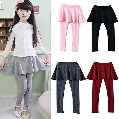 Girls Kids Pure Color Elastic Skirt Long Pants Leggings Cake Skirt Stunning