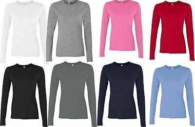 Gildan Softstyle Ladies T Shirt Long Sleeve Ringspun Cotton Blank Top T-Shirt