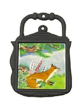 Fox Nature Scene Cast Iron and Ceramic Kettle Shape Kitchen Trivet