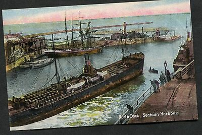C1910 View of Ships in North Dock, Seaham Harbour, County Durham