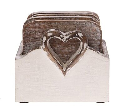 Shabby Chic Wooden Heart Coasters Placemats - Set of 6 - Sass & Belle