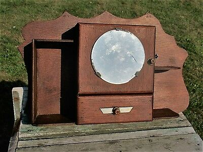 Vintage Small Wood Display Medicine Cabinet Glass Apothecary round mirror cute