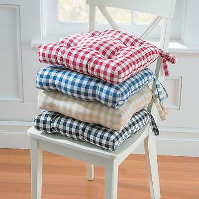 """15"""" Sq Country Gingham Buffalo Checks Dining Chair Pads Cushions 4 Color Cotton"""