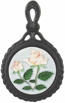 Pink Rose Cast Iron and Ceramic Round Shape Kitchen Trivet
