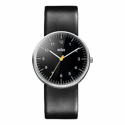 Braun Men's Quartz Watch with Black Dial and Leather Strap BN0021BKBKG
