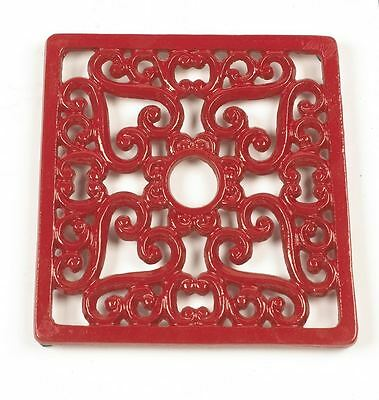 Red Heavy Duty Cast Iron Square Shaped Kitchen Trivet
