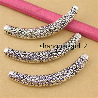 10pcs/lot Vintage Zinc Alloy Curved Silver Plated Cube Spacer Beads Charms 67mm