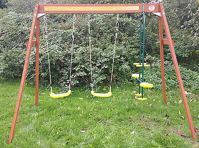 Plum wooden double swing and glider play centre