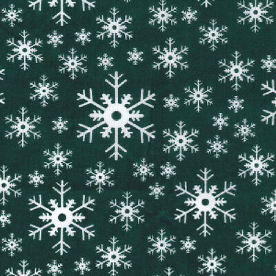 Printed Polyester Cotton - Snowflake Green