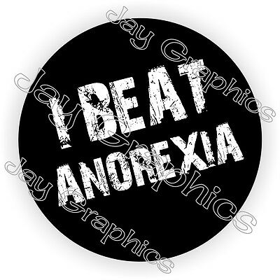 I Beat Anorexia Hard Hat Sticker / Decal Funny Label Helmet Construction Laborer