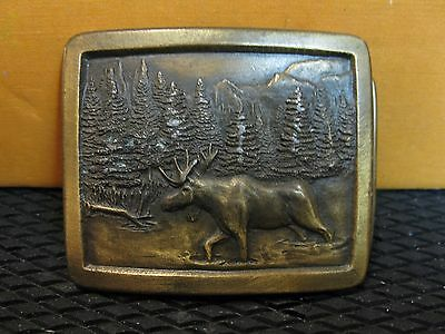 Vintage 1976 Indiana Metal craft Moose BELT BUCKLE FREE SHIPPING Inventory #BB-2