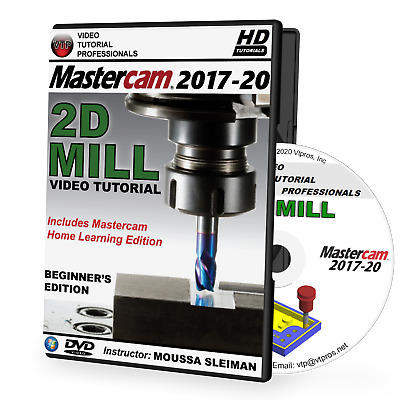 MASTERCAM 2017-2018 - 2D MILL Beginner Video Tutorial Training Course in 720P HD