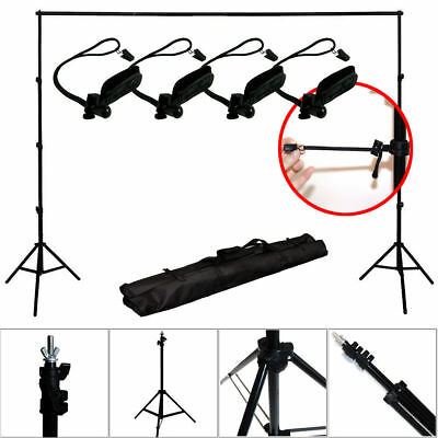 10Ft Adjustable Background Support Stand Photo Backdrop Crossbar Kit w/holders