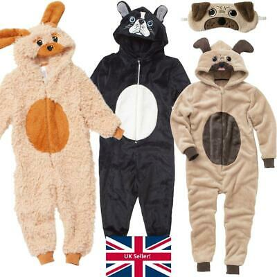 Pug Dog Onesi Boys Girls Childs Fleece Hood Novelty Character Jumpsuit Play