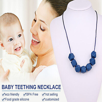 Food Grade Beads Necklace Teething Teether Soft Necklace for Chew Baby Safty
