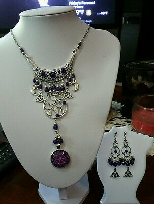 Handcrafted Wiccan/Pagan Magical HEALING Amethyst Fower of Life Pendant/Earrings