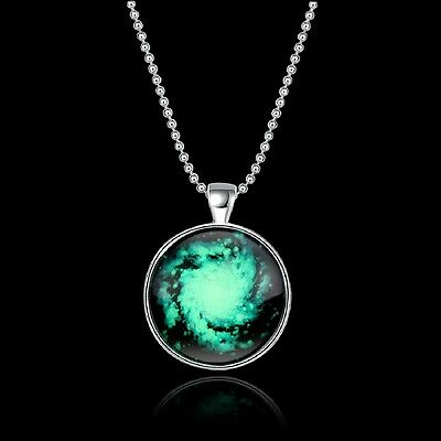 Glowing Galaxy Pendant Necklace in the Dark Necklace Star Cosmos Jewelry