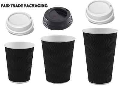 Black Triple S Walled Ripple Hot Drinks Disposable Paper Cups 25-1000 Tea/coffee