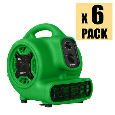 XPOWER P-230AT 1/5HP Mini Air Mover Carpet Floor Dryer w/ Timer & Outlets 6 Pack