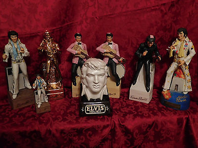 McCormick Lot of 8 Collectable Elvis Presley Vintage Whiskey Liquor Decanters