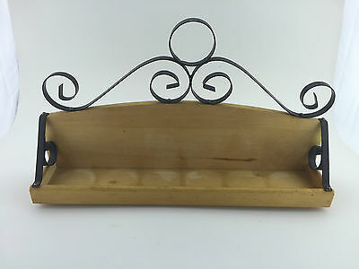 Wood & Metal Spice Rack Organizer - Wall Mount Or Kitchen Countertop