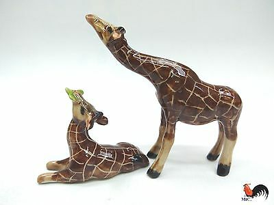 Lot Of 2 Animal Giraffe Ceramic Small Figurines Miniature Decor Home Collec Gift