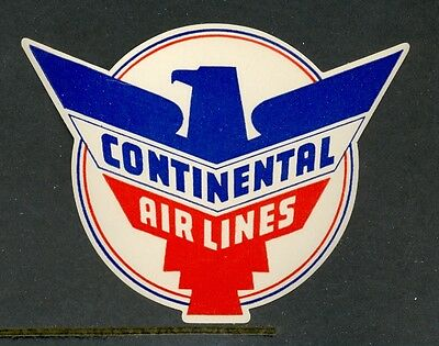 Continental Airlines Vintage Luggage Label
