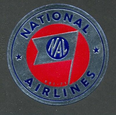 National Airlines Vintage Luggage Label