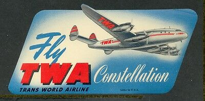 Twa Trans World Airlines Constellation Vintage Luggage Label