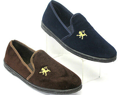 Mens Slippers Lions Brown & Navy