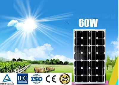 12V 60W Mono Solar Panel Home Generator Caravan Battery Charging Camping Power
