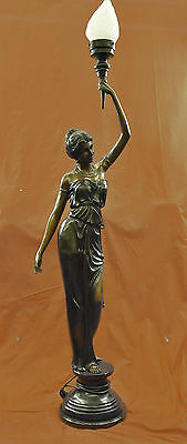 """Signed """"Moreau"""" gorgeous bronze statue lamp, glass, absolutely stunning!!"""