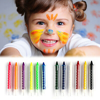 Kids Childrens Face Body Painting Crayon 6 Colours Kit Set Sticks Party Wedding
