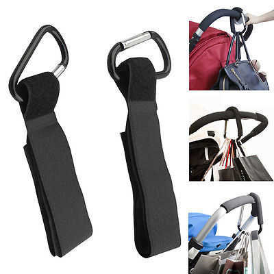 4Pcs Baby Stroller Pram Wheelchair Accessory Pushchair Hanger Metal Black Hooks