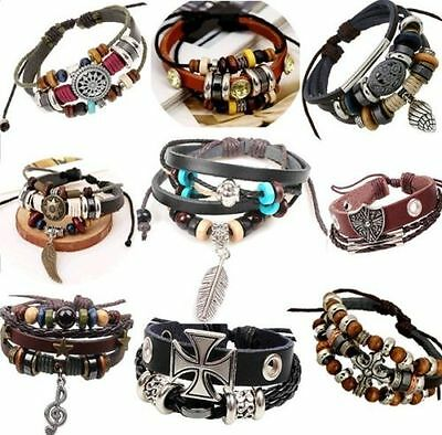 Wholesale lots 50 pcs Mixed Charm Genuine Cuff Ethnic Tribal Leather Bracelets