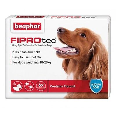 Beaphar FIPROtec for Medium Dogs - 10 - 20 kg - 6 Pipettes