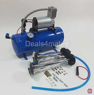 12v Dual Double Trumpet 150 Db Air Horn Kit With 6 Liters 150 Psi Compressor New