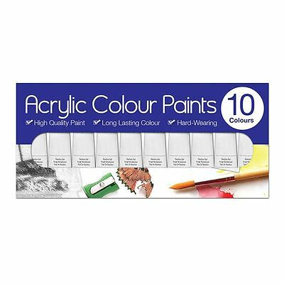 10 Pack Tallon Artists Acrylic Paint Set Assorted Colours Art Craft Painting