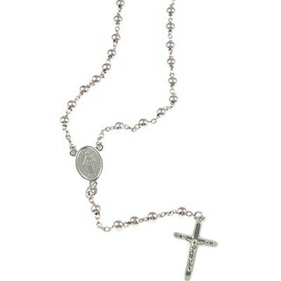 Solid Silver 925 Hallmarked Rosary Beads With Crucifix And Miraculous Medal