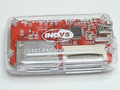 INOV8 All in 1 Multi Card USB Reader (SD MMC MS MSPRO CF MD XD) - Red