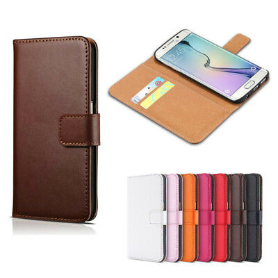 Genuine Leather Flip Wallet Case Card Cover For Samsung Galaxy S6 S7 S8 S9 Plus