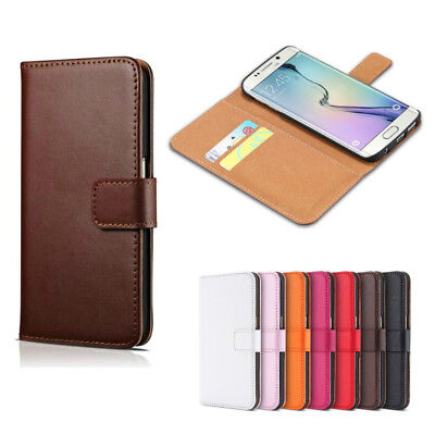Genuine Real Leather Flip Wallet Case Card Slot Cover For Samsung Galaxy S5 S7