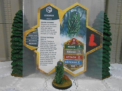 Heroscape Custom Cerebrax Double Sided Card & Figure w/ Sleeve Aquilla