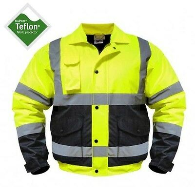 Utility Pro Wear High-Visibility Bomber Jacket - Class 3 Lime/Black M-5X UHV562