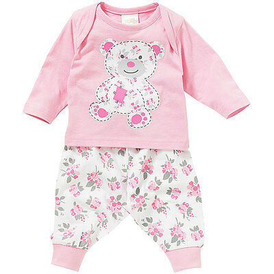 Lullaby Baby Girls Cute Floral Teddy Long Sleeve Cotton Pyjamas Pink White