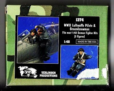 Verlinden 1374 - Wwii Luftwaffe Pilots & Groundcrewman 1/48 Resin Kit Nuovo