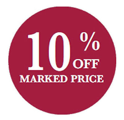 100 x 10% Off 40mm Round Self Adhesive Peelable Removable Price Labels Stickers