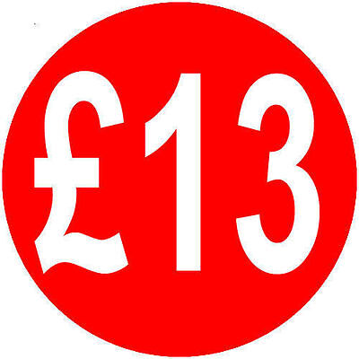 500 x £13 40mm Red Round Self Adhesive Peelable Removable Price Labels Stickers