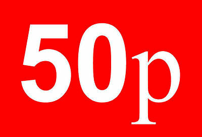 50p Pound Sale Rail Double Sided Sign Card Retail Shop Display - High Quality