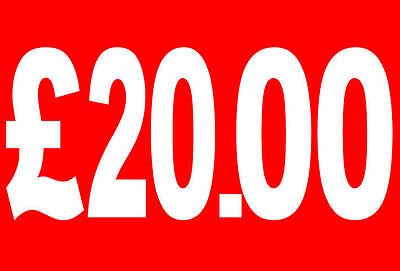 £20|20 Pound Sale Rail Double Sided Sign Card Retail Shop Display - High Quality